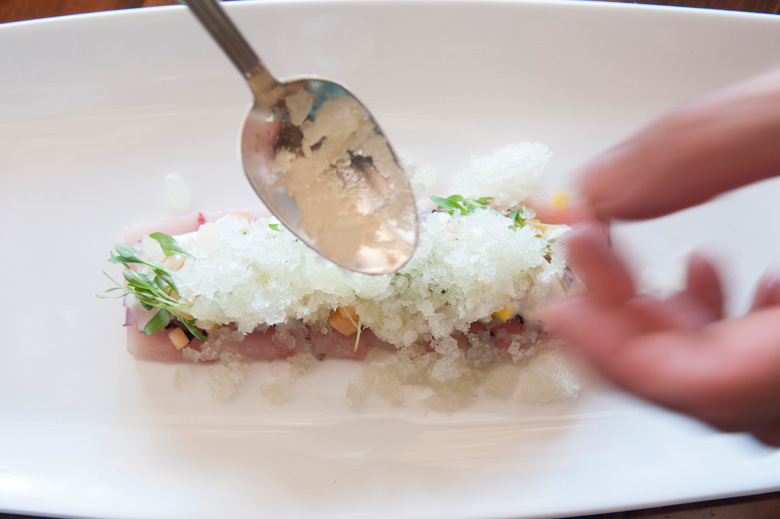 Hamachi Carpaccio topped with Ginger Shave Ice