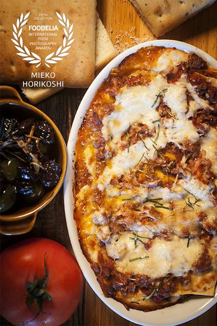 Focaccia, Lasagne, Olives, Tomato